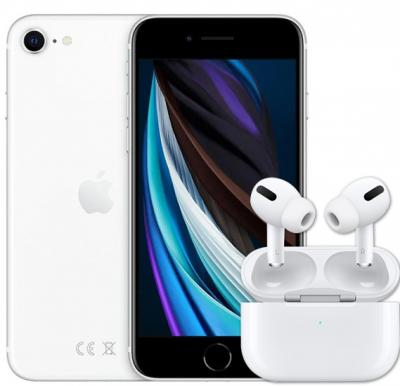 2 IN 1 Mobile Smart Bundle, Apple iPhone SE 2020 (2nd-Gen) With FaceTime 64GB 4G LTE-White With Apple AirPods Pro Wireless Earphones White