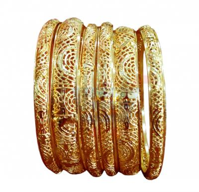 Nathasha Arts 22K Gold Plated Semi-Circle Design Bangles 6 Piece Set,12650