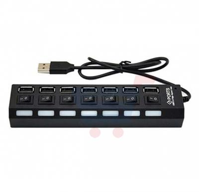 Zooni 7 Port Slot Tap USB 2.0 Hub Adapter, Splitter Power On/Off Switch LED Light