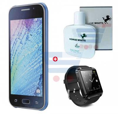 Bundle Offer Enes G12 Smartphone, 3G, Android 5, 1GB Ram, 4 GB Storage, 5.0 inch HD Display, Dual Camera And Get Horse White Perfume 100 ML, Bluetooth Smart Watch for Free, Blue