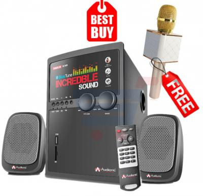 Combo Offer! Audionic Blue Tune Max-330 2.1 Channel Speaker, & Get Karoake Microphone with Speaker,wireless and Portable FREE