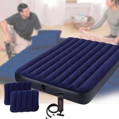 Intex Queen Sized  Dura-Beam Classic Downy Airbed Blue/Black 152 x 203 x 25cm 64759 with Hand Pump and 2 Pillows