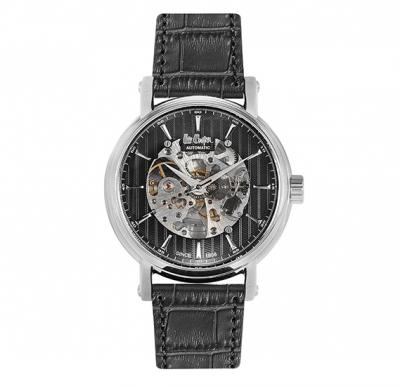 Lee Cooper Mens Automatic Silver Case Black Leather Strap Black Dial, LC06369.351