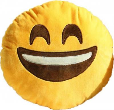 Yellow Round Cushion Pillow, Emoji Laughing
