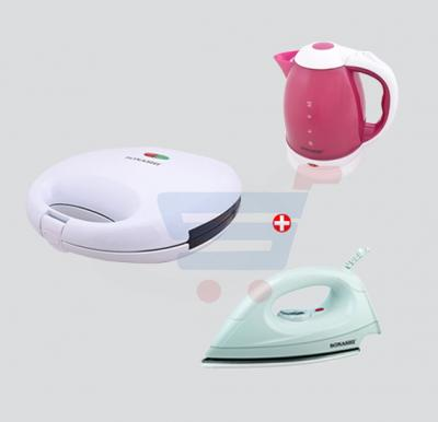 Bundle Offer ! Sonashi 1.8l Plastic Body ,Cordless Kettle  SKT-1802 +Sonashi 2 Slice Non-Stick Sandwich Maker,SSM-856 +Sonashi Dry Iron,SDI-6007