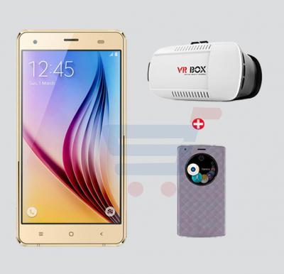 Bundle Offer! Hotwav X10 Smartphone, 4G, Android 4.4.2, 1GB RAM, 8GB Storage and Get  V R Box + Mobile Cover FREE(GOLD)