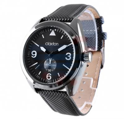 Claxton Analog Watch For Men, Black Leather Strap With Black Dial-CT79006