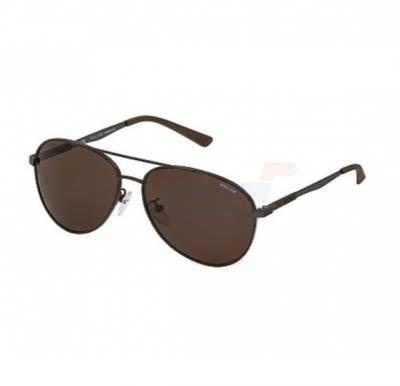 Police Aviator Brown Frame & Brown Mirrored Sunglasses For Unisex - SPL344-90LP