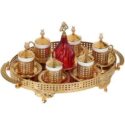 Dalgic Red Coffee Set with oval tray