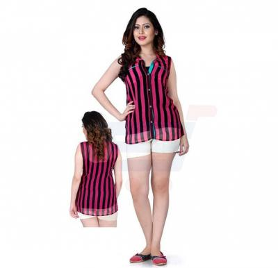 Pink Top With Black Stripes -  92CL092 - M