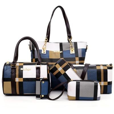 Womens 6 Piece PU Leather Canvas Bag with Pattern/Print Zipper, Blue