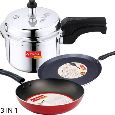 Combo Pack Cheftek 3 Ltr Stainless Pressure Cooker + 22 Cm Fry Pan + 26Cm Tawa