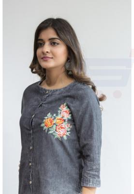 Ruky Fareen Denim Embriodery Design Women Long Top Kurti Full Sleeve RF 206, Size M