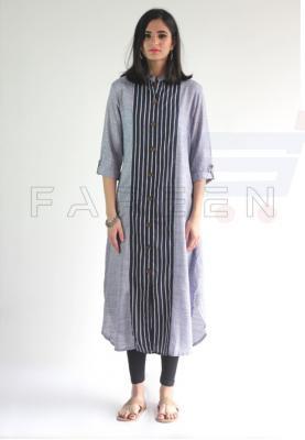 Ruky Fareen Long Top Full Sleeve Kurthees Cotton - RF 126 - M