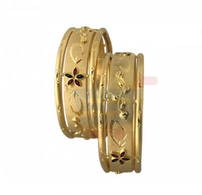 Fiona Arts 22K Gold Plated Flower Design 2 Pieces Bangles Set- FI 628