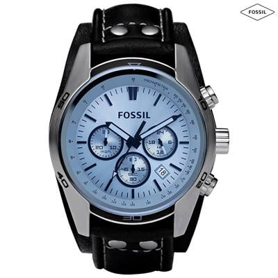 Fossil Blue Dial Leather Band Chronograph Watch For Men - CH2564