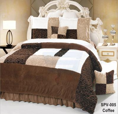 Senoures Velour Comforter 6Pcs Set King - SPV-005 Coffee