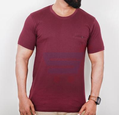 Highlander Mens Cotton Round Neck Half Sleeve T-Shirt Brown - Large