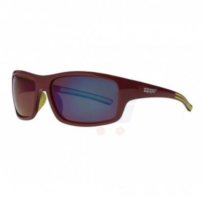Zippo Full Frame Wrap Sunglasses Maroon & Green Polarized - OB31-03
