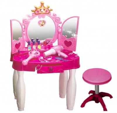 Princess Mirror Durable Dressing Vanity Table up with Music Sound and Light Glamour Beauty Makeup Pretend Role Play Set Toy for Kids 661-20