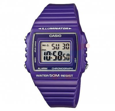 Casio Digital Illuminator Watch For Men, Purple Unisex-W-215H-6A