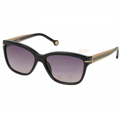 Carolina Herrera Round Black Frame & Gradent Black Mirrored Sunglasses For Women - SHE575-0700