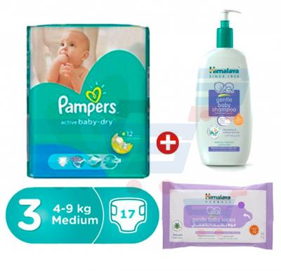 Bundle Offer Pampers Main Line Carry Pack 4-9kg, CP-17 Count(1*17pcs)+Himalaya Gentle Baby Shampoo 800 ML+Himalaya Gentle Cleansing Baby Wipes 24s