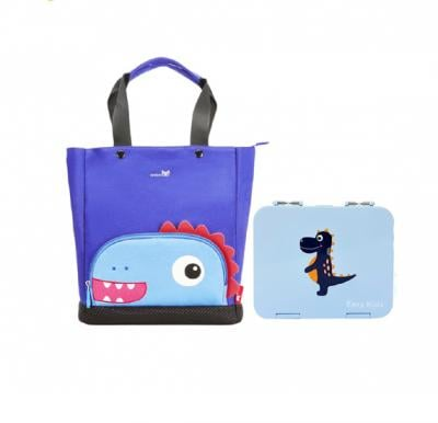 Nohoo Dinosaur Tote Bag and Bento Lunch Box-Grey Blue CM_NHBN_008 Grey Blue (35*10*32)