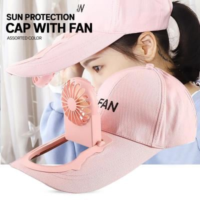 Sun Protection Cap With Fan, Assorted Color