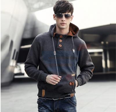 Mens Hoodie Casual Fastener Design Fashion Coat Grey (Medium) - 0561