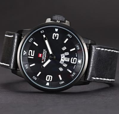Naviforce 9028 Leather Strap Watch For Men