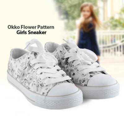 OKKO flower pattern girls sneaker - GH-826, Grey size-35