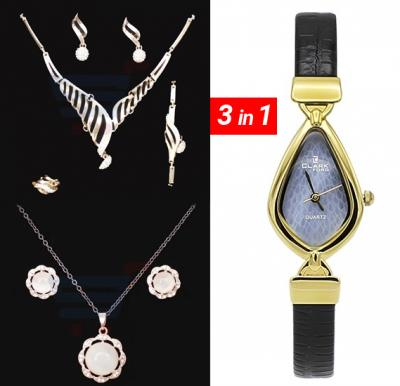 Neckless 18k gold plated with free watch 3 in 1, 1W131