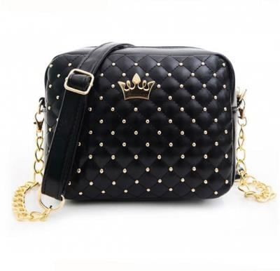 Women Crown Messenger Bag -Black