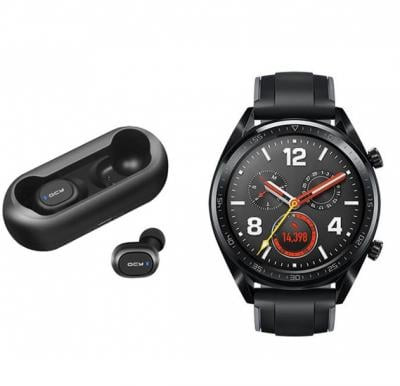 2 In 1 Huawei Gt-Sports Watch With Free Qcy T1 Ear Buds