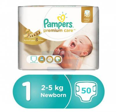 Pampers Premium Care Newborn, 50 Count (1x50Pcs)