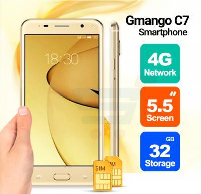 Gmango C7 Smartphone, 4G, 5.5 inch HD Display, Android 6.0, 2GB RAM,32GB Storage, Quad Core, Dual SIM, Dual Camera,Dual Flash-Gold