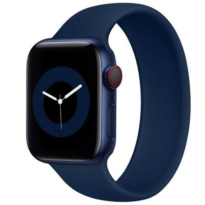 Promate Solo Loop Strap for Apple Watch 42, 44mm, LOOP-44S, Navy Blue