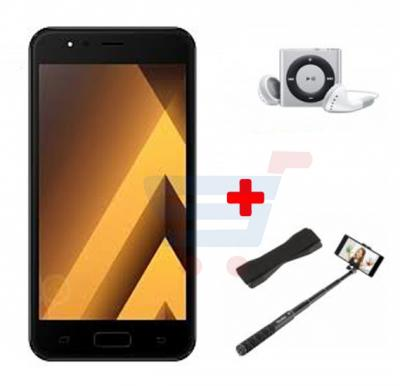 Crescent Air 4 Smartphone, Android 6.0, 5.5 Inch HD Display, 1GB RAM, 8GB Storage, Dual Camera, Wifi- Black And Get Free Mp3 Player, Selfie Stick, Mobile Grip
