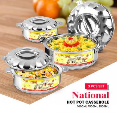 National Hot pot Casserole 3 pcs Set 1000ml 1500ml 2500ml