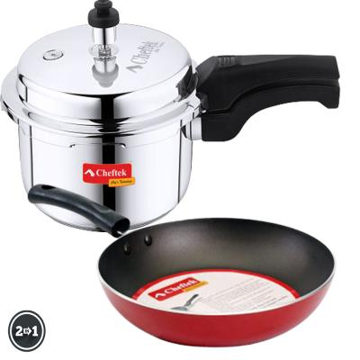 Cheftek 3 Ltr Stainless Pressure Cooker + Free 22cm Fry Pan