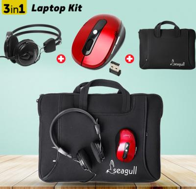 Seagull Laptop Kit(Wireless mouse+Stereo headset+Laptop Bag)