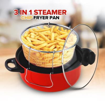 3 in 1 Steamer Fryer Chip Pan Cooking Glass LID Pot Carbon Steel Stir Fry