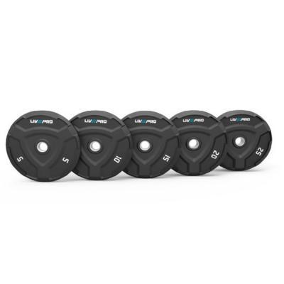 Liveup Rubber Bumper Plate 25kg LP8022, Black