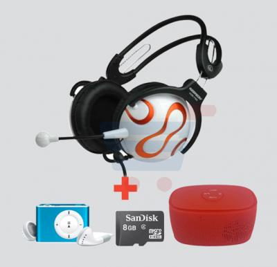 4-in-1 Bundle Offer! Keenion KOS-730 Headphone + MP3 Player + Sandisk 8GB Memory Card + Bluetooth Speaker
