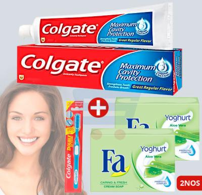 Bundle Offer Colgate Maximum Cavity Protection Toothpaste, Get Colgate Double Action Toothbrush, And 2 Pcs Fa Soap Yoghurt Aloe Vera 175gm