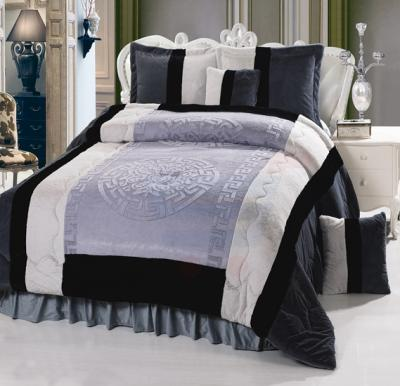 Senoures Velour Comforter 6Pcs Set King - SPV-007 Grey