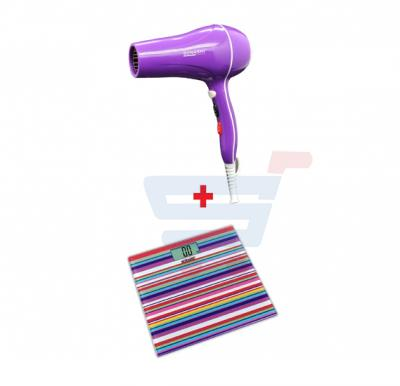 Bundle-Combo Offer Sonashi Digital Bathroom Scale Purple- Multi-color SSC-2219 + Sonashi Hair Dryer 2000 W Light Purple SHD-3037