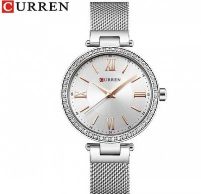 Curren Classy Crystal Studded Bezel Roman Numeral Analog Mesh Strap Watch For Women, 9011, Silver