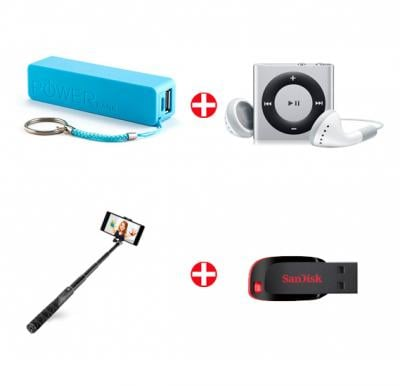4-in-1 Bundle Offer! Power Bank + MP3 Player + Sandisk Pendrive + Selfie Stick